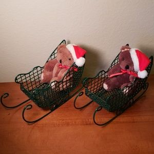 Other - Set of Holiday Teddy Bear Sleighs (2)